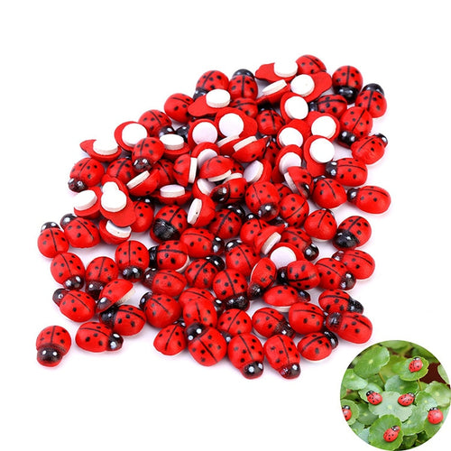 100pcs/set Mini Ladybug Fairy Figurine Miniature Garden Ornament  Micro Landscape Bonsai Figurine Resin Crafts Dollhouse  Decor