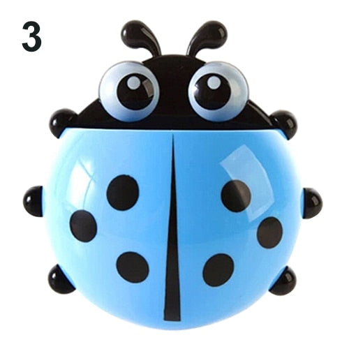 Hot Lovely Ladybug Toothbrush Holder Suction Ladybird Toothpaste Wall Sucker Bathroom Sets Household Bathroom Supplies