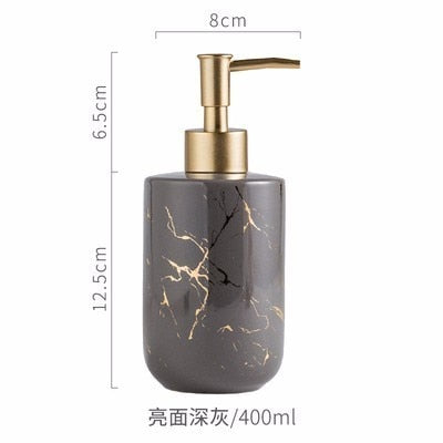 High quality matte marble pattern bathroom soap dispenser ceramic lotion bottle soap dish toothbrush holder mouthwash cup