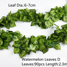 Load image into Gallery viewer, 10 Style 1pc Artificial Decoration Vivid Vine Rattan Leaf Vagina Grass Plants Grape Leaves For Home Garden Party Decor B1015
