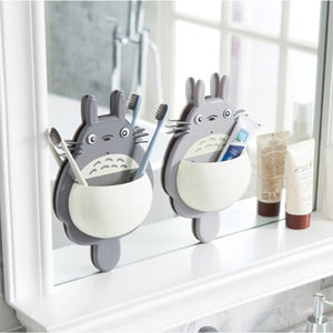 1pcs Toothbrush Wall Mount Holder Cute Totoro Sucker box Bathroom Organizer Tools Accessories