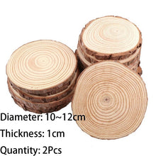 Load image into Gallery viewer, 3-12cm Thick 1 Pack Natural Pine Round Unfinished Wood Slices Circles With Tree Bark Log Discs DIY Crafts Wedding Party Painting