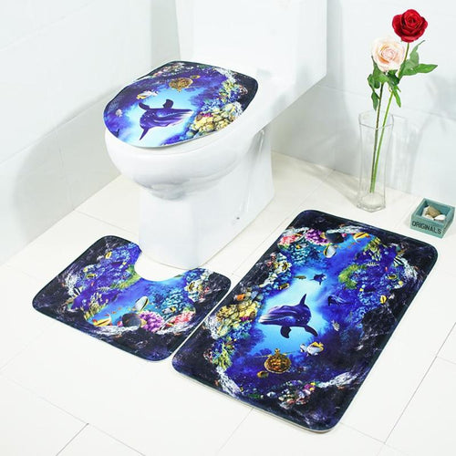 3Pcs/set Bathroom Mat Set Ocean Underwater World Anti Slip Kitchen Bath Mat Coral Fleece Floor Mats Washable Bathroom Toilet Rug
