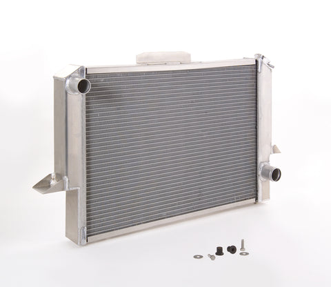 Radiator Direct-Fit Polished Finish for 55-57 Chevrolet/GMC 1/2, 3/4, 1 Ton Pickups/Suburban/Panel Delivery w/Std Trans Be Cool Radiator