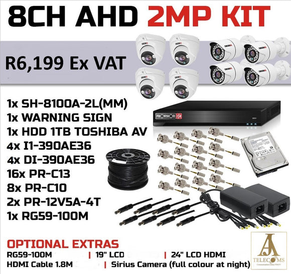 8CH AHD 2MP KIT