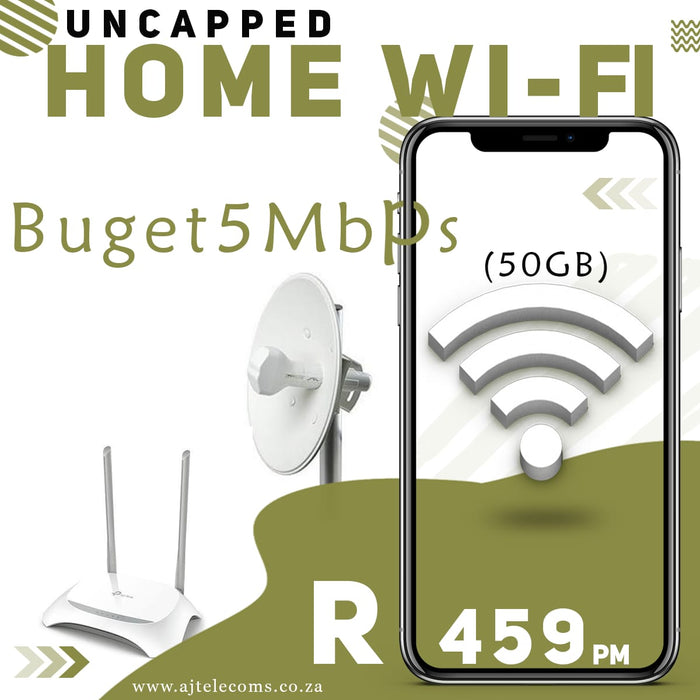 Budget 5Mbps Uncapped Wireless Internet (50GB)
