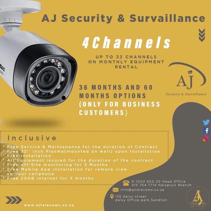 Aj Security & Surveillance (4 - 32 Channels CCTV Equipment Rental/Sale)