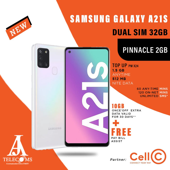 Samsung Galaxy A21s Dual Sim 32GB (Pinnacle 2GB Top Up)
