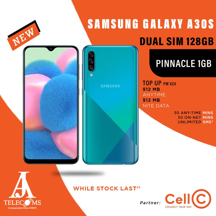 Samsung Galaxy A30s Dual Sim 128GB (Pinnacle 1GB Top Up)