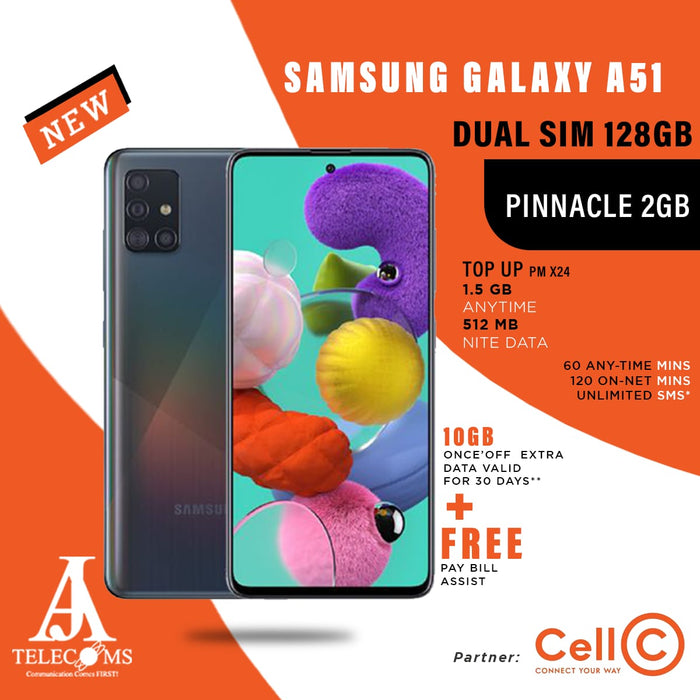 Samsung Galaxy A51 Dual Sim 128GB (Pinnacle 2GB Top Up)