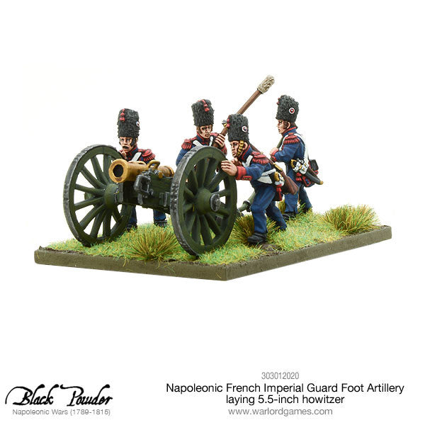 Napoleonic French Imperial Guard Foot Artillery laying howitzer