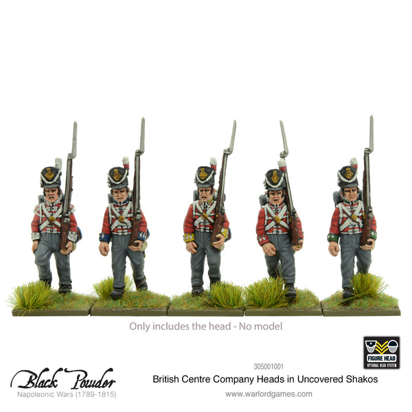 25x Napoleonic British Centre Company heads in uncovered Shakos
