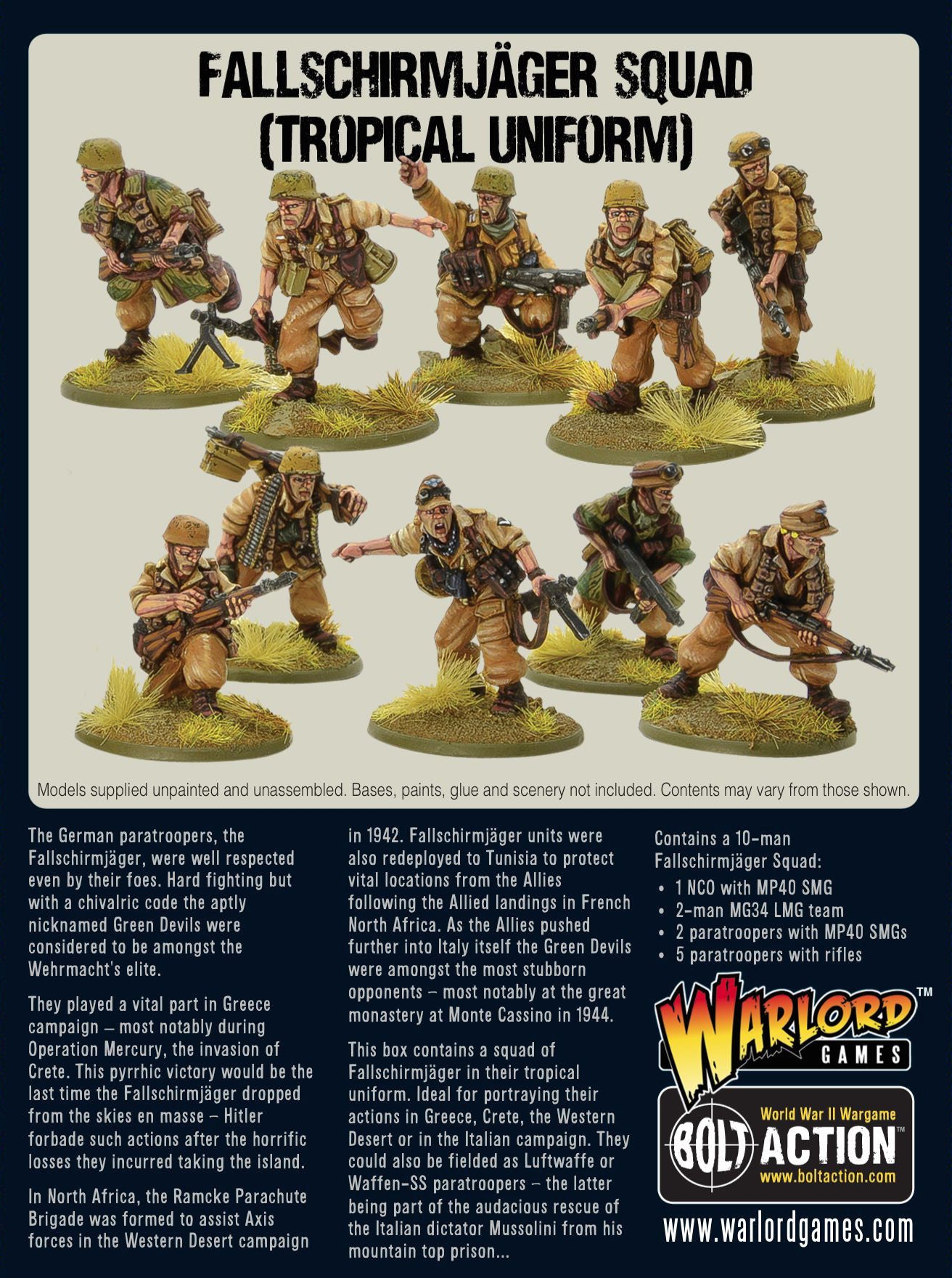 Fallschirmjager Squad Tropical Uniform Warlord Games