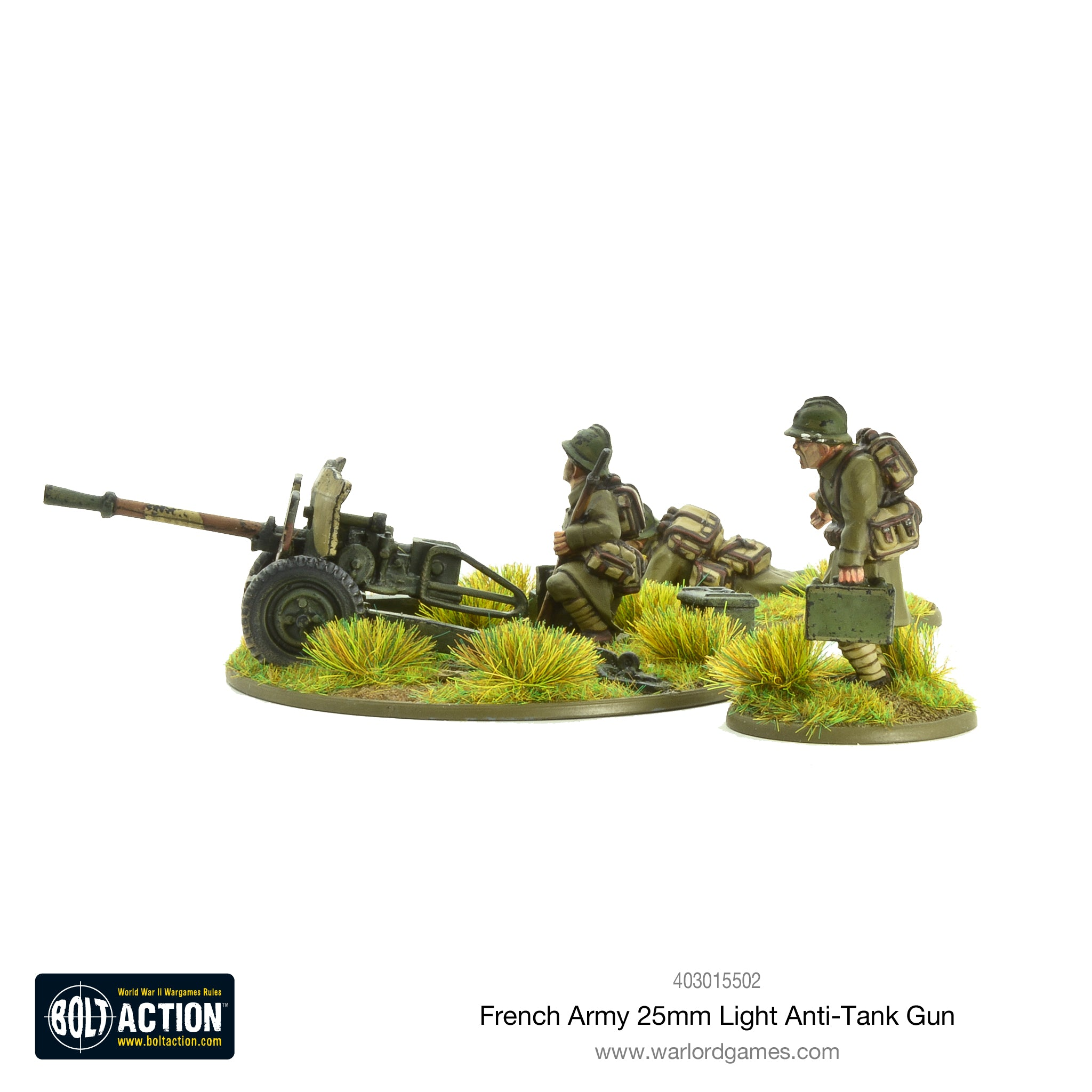 french army 25mm light anti tank gun warlord games
