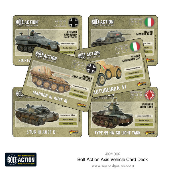Bolt Action Axis Vehicle Card Deck