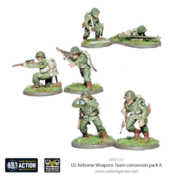 US Airborne Weapons Team conversion pack A (Sniper, Bazooka, Officer)