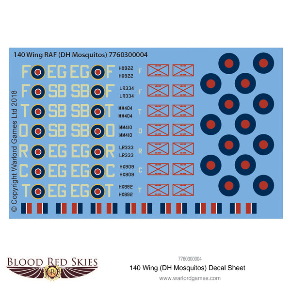 140 Wing (DH Mosquitos) decal sheet
