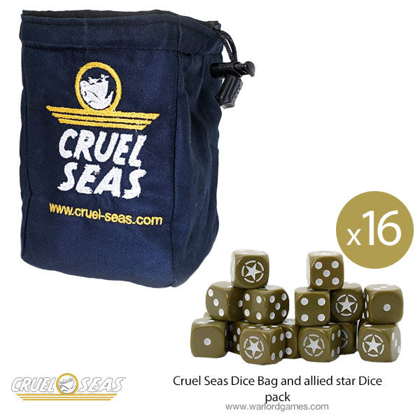 Cruel Seas Dice Bag and allied star Dice pack