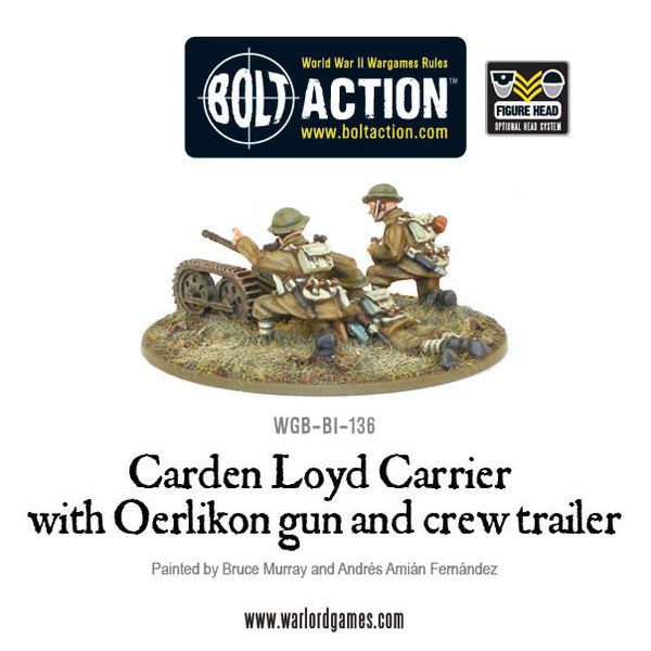 Carden Loyd Carrier with Oerlikon gun and crew trailer
