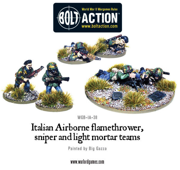 Italian Airborne flamethrower, sniper and light mortar teams