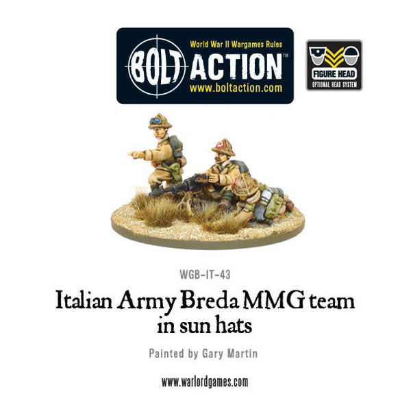 Italian Army Breda MMG in sun hats