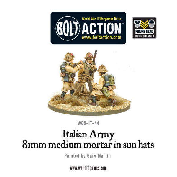 Italian 81mm mortar team in sun hats