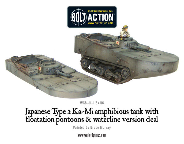 Japanese Type 2 Ka-Mi amphibious tank with floatation pontoons & waterline version deal
