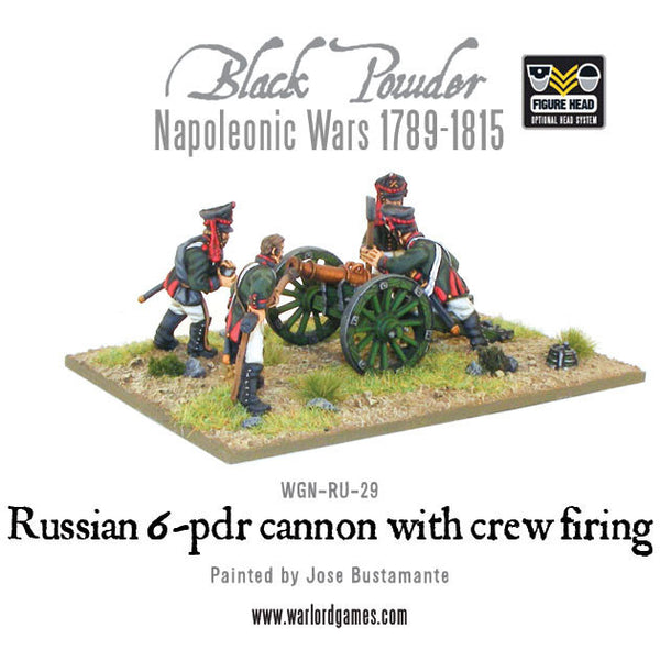 Napoleonic Russian 6 pdr cannon 1809-1815 with crew firing