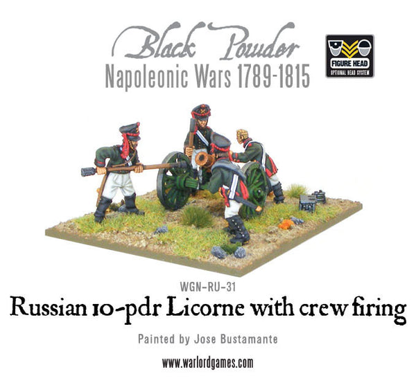 Napoleonic Russian 10-pdr Licorne howitzer 1809-1815 with crew firing