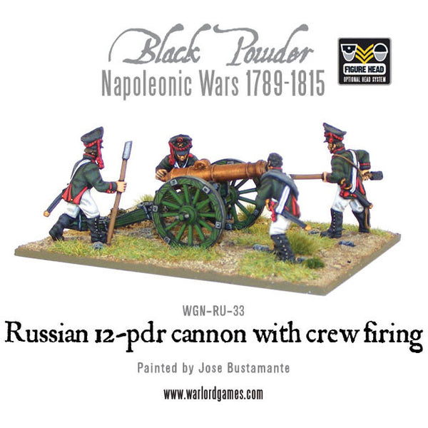 Napoleonic Russian 12 pdr cannon 1809-1815 with crew firing