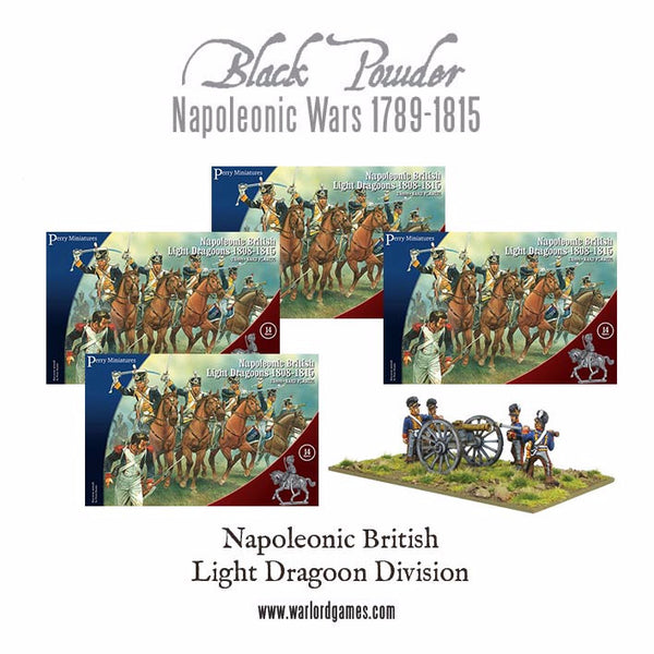 Napoleonic British Light Dragoons 1808-1815 Division (4 boxes) + Free Artillery
