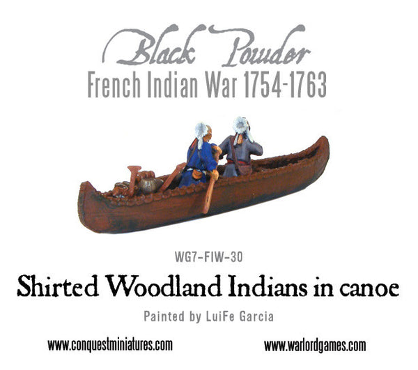 Shirted Woodland Indians in canoe