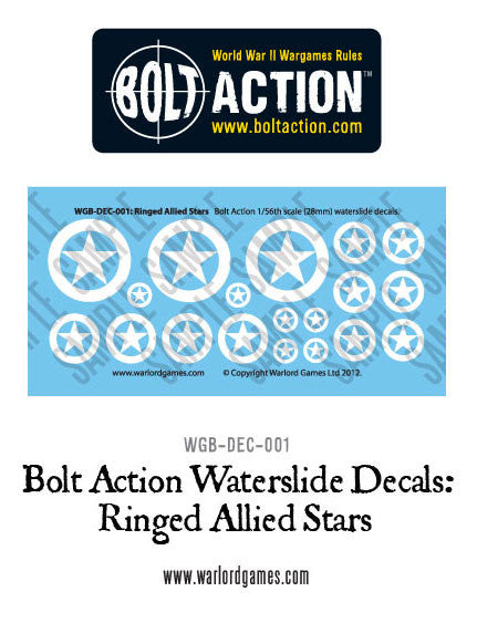 Bolt Action Ringed Allied Stars decal sheet