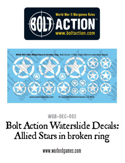 Bolt Action Allied Stars in broken ring decal sheet