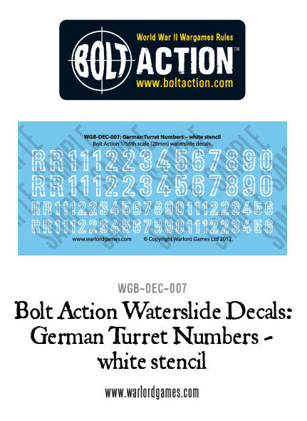 Bolt Action German Turret Numbers - white stencil decal sheet