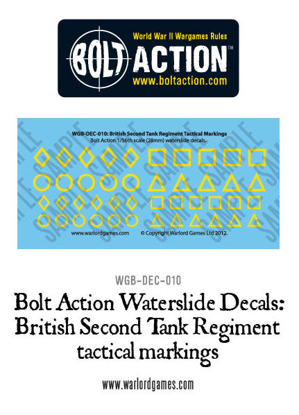 Bolt Action  British Second Tank Regiment tactical markings decal sheet