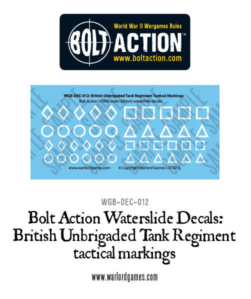 Bolt Action  British Unbrigaded Tank Regiment tactical markings  - white decal sheet