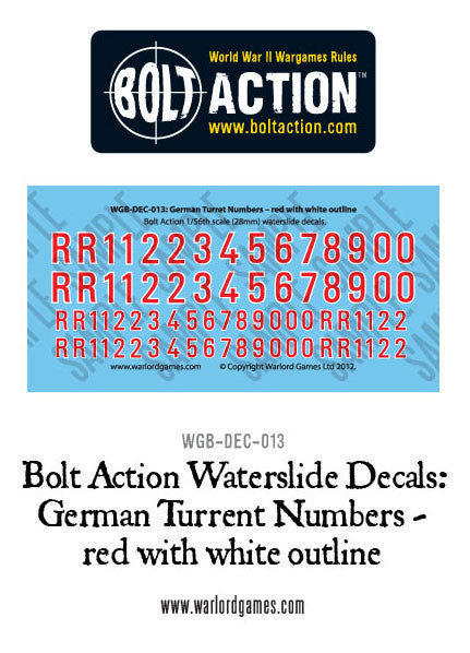 Bolt Action German Turret numbers - red with white outline decal sheet