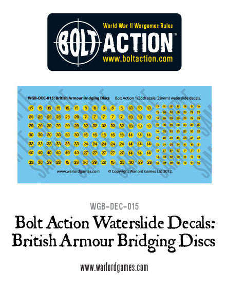 Bolt Action British Armour Bridging discs decal sheet