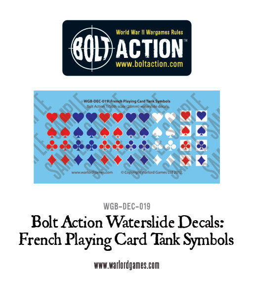 French Playing Card tank symbols decal sheet