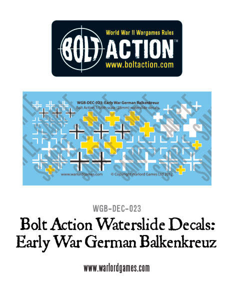 Early War German Balkenkreuz decal sheet