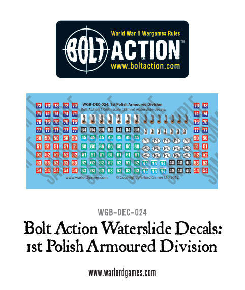 1st Polish Armoured Division decal sheet