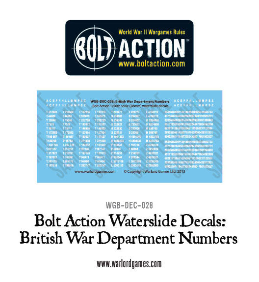 Bolt Action British War Department  numbers decals