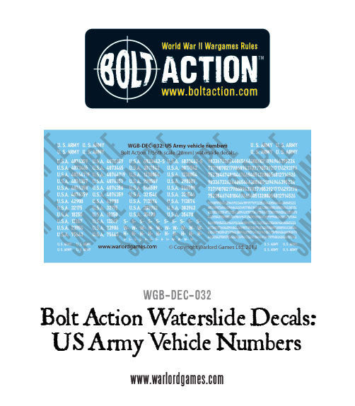 Bolt Action US vehicle numbers decals