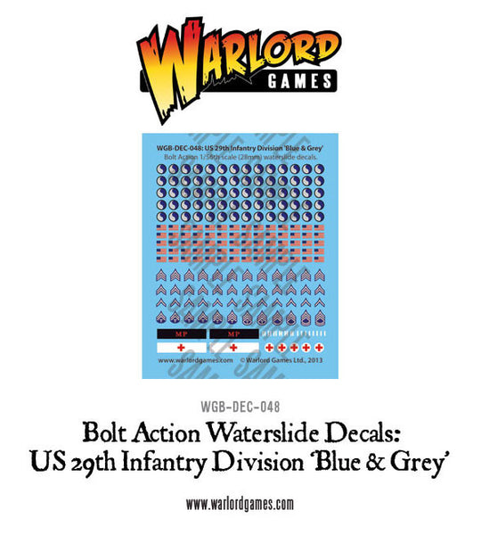 US 29th Infantry Division 'Blue & Grey' decal sheet