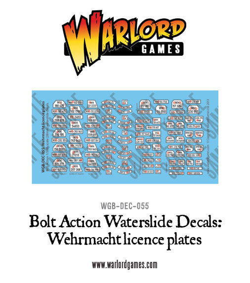 Wehrmacht licence plates decal sheet