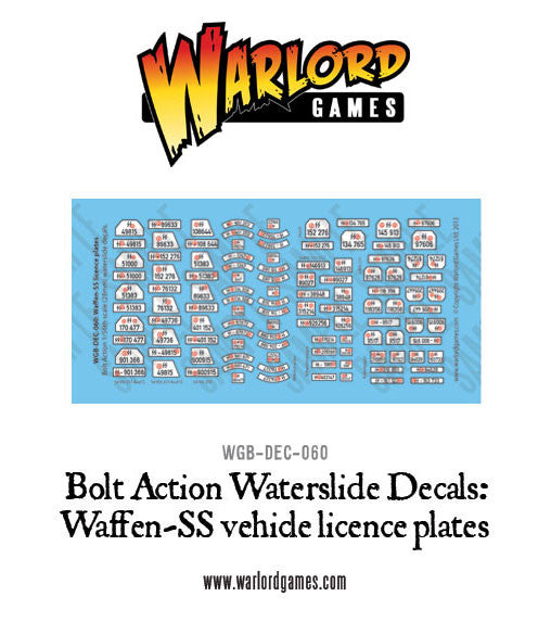 Waffen-SS Licence plates decal sheet