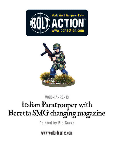 Italian Paratrooper with Beretta SMG changing Clip