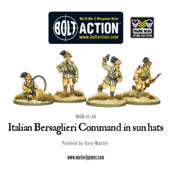 Italian Bersaglieri Command in sun hats
