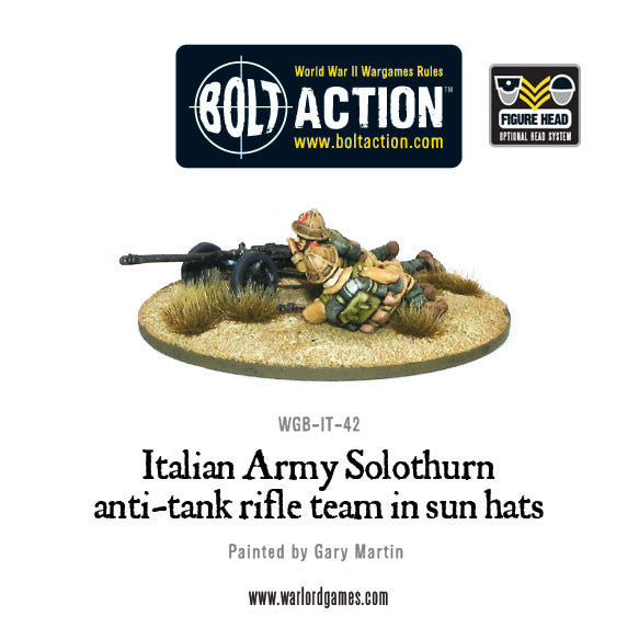 Italian Solothurn anti-tank rifle team in sun hats